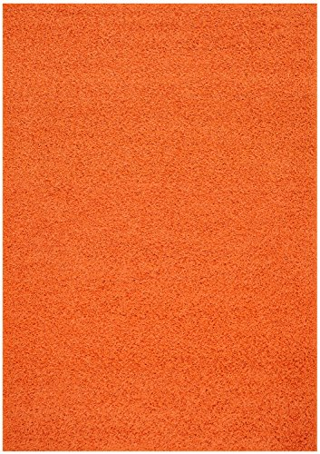 Shaggy Collection Solid Color Shag Area Rug Rugs (Bright Orange, 6'7