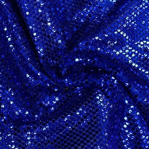Faux Sequin Knit Fabric Shiny Dot Confetti for Sewing Costumes Apparel Crafts by the Yard (1 YARD, Royal Blue) (Blue Fabric Dot)