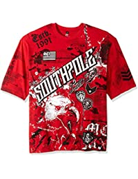 Men's Big and Tall Bt Short Sleeve Hd, Foil, Flock Print All Over Graphic Tee