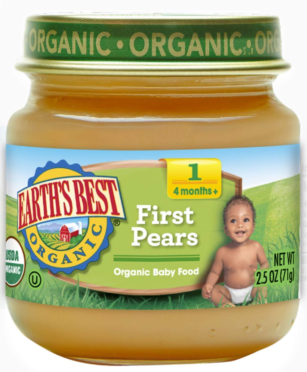 Earth's Best Organic Stage 1 Baby Food, First Pears, 2.5 oz. Jar (Pack of 12)
