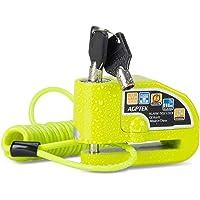 AGPTEK Candado Disco Moto con 1.5M Cable de Recordatorio, Candado Bloqueo 7mm con Alarma 110DB Antirrobo para Motos…