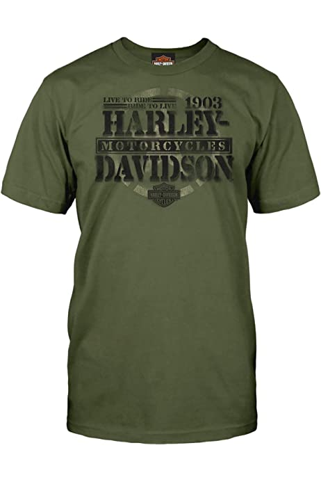 Tour of Duty Pacific HARLEY-DAVIDSON Military Mens Military Green Graphic T-Shirt