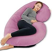 INSEN Pregnancy Body Pillow,Full Body Pillow,C Shaped Full Body Pillow with Velvet Cover (Purple Velvet)