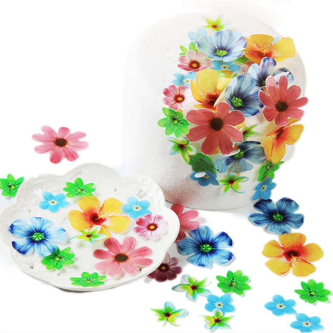 GEORLD Set of 72 Wafer Flowers Cupcake Toppers Wedding Cake Party Food Decoration Mixed Size & Colour