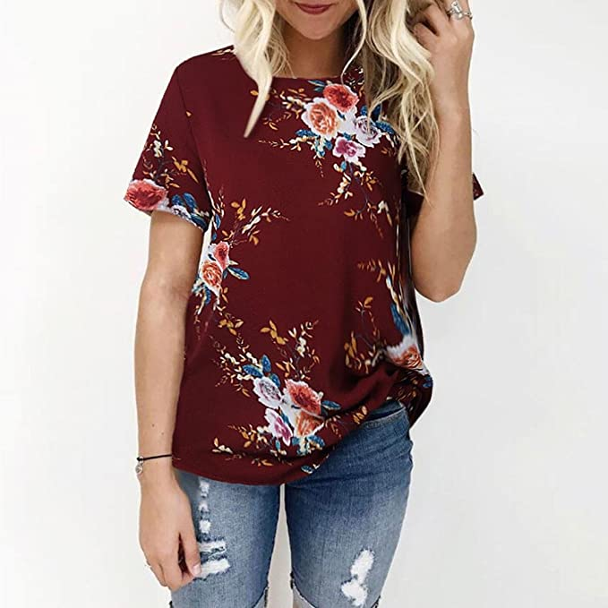 DondPO Ladies Sexy Casual Floral Printing T-Shirt Short Sleeve T-Shirt Tops Casual Loose Blouse Summer Clothes at Amazon Womens Clothing store: