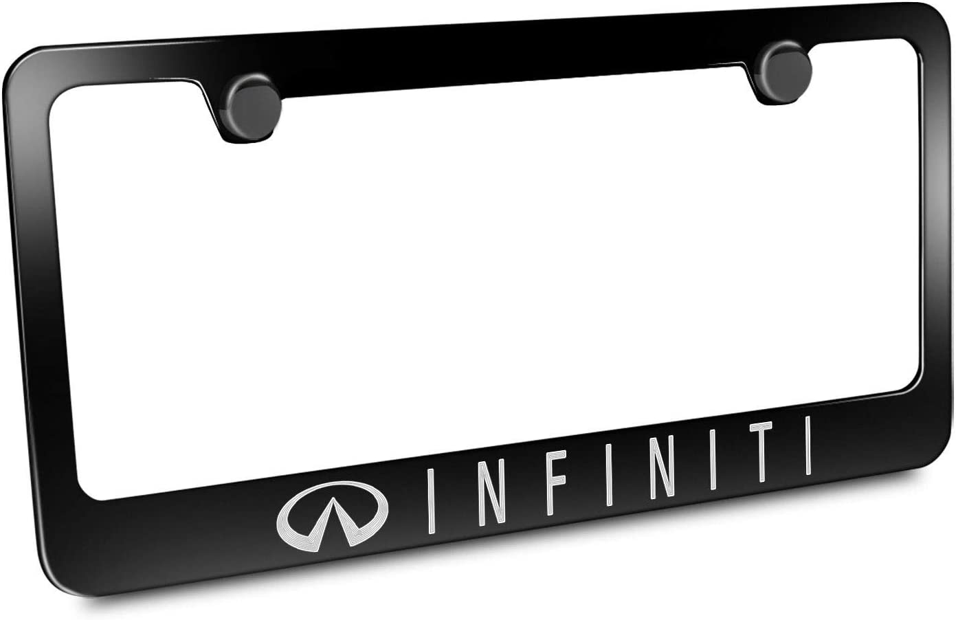 1 Estodia Black Stainless Steel G30 35 FX Q 30 40 50 70 80 License Plate Frame Cover Holder Metal with Screws Caps