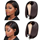 Short Bob Wigs Human Hair Lace Closure Wigs Brazilian Virgin Human Hair Straight Bob lace Front Wigs For Black Women Pre Plucked with Baby Hair Natural Black (8inch)