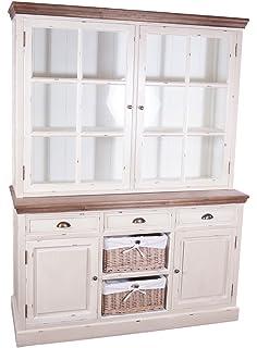 elbmöbel Küchenschrank aus Holz in weiß im Landhaus-Stil mit ... | {Küchenschrank weiß landhausstil 87}