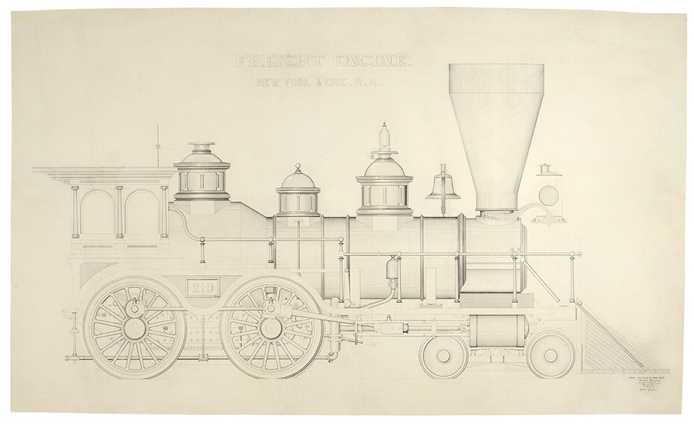Freight Engine. New York & Erie R.R. An Original Drawing by