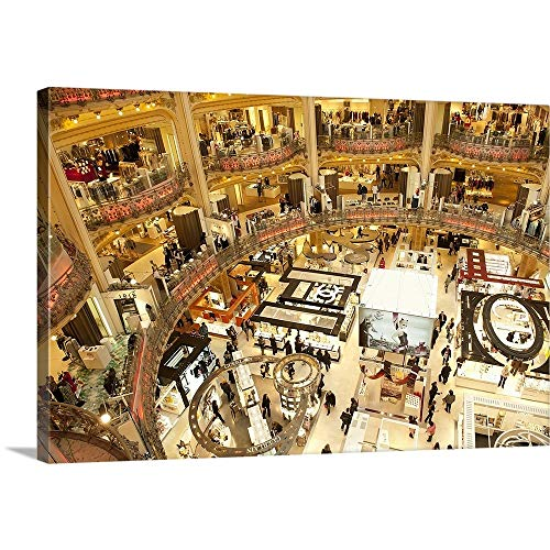 GREATBIGCANVAS Gallery-Wrapped Canvas Entitled Interiors of a Shopping mall, Galeries Lafayette, Paris, ILE de France, France by ()
