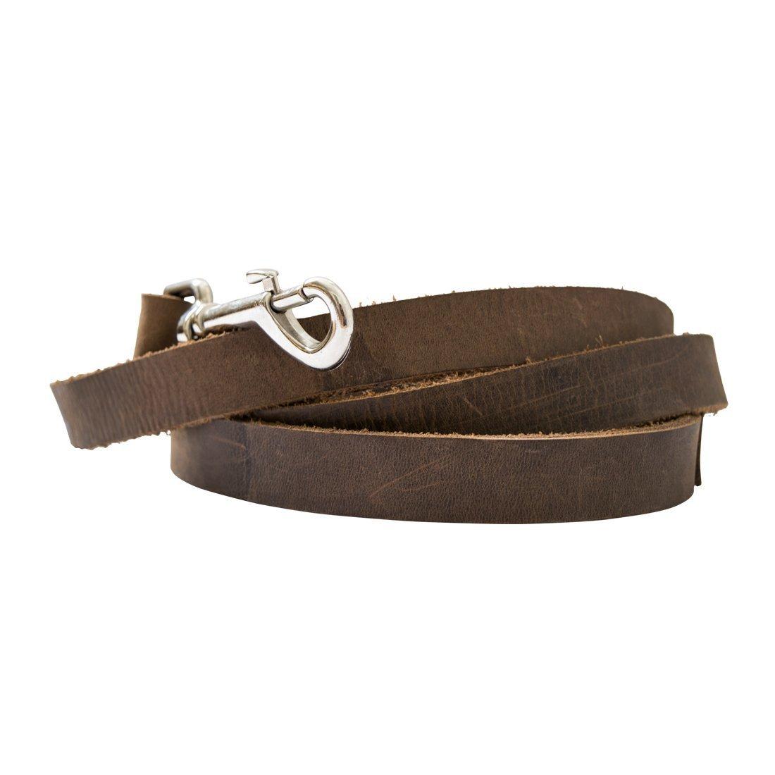 Hide & Drink Tough Leather Dog Leash (6 feet) Handmade Bourbon Brown