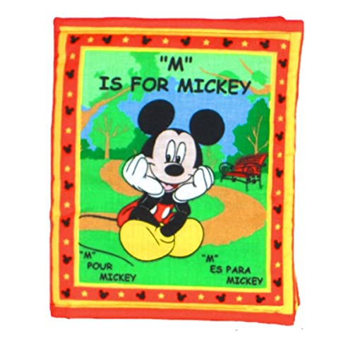 Delightful Baby Book In French Spanish   Made From Mickey Mouse Fabric   Soft Cloth  Toy For