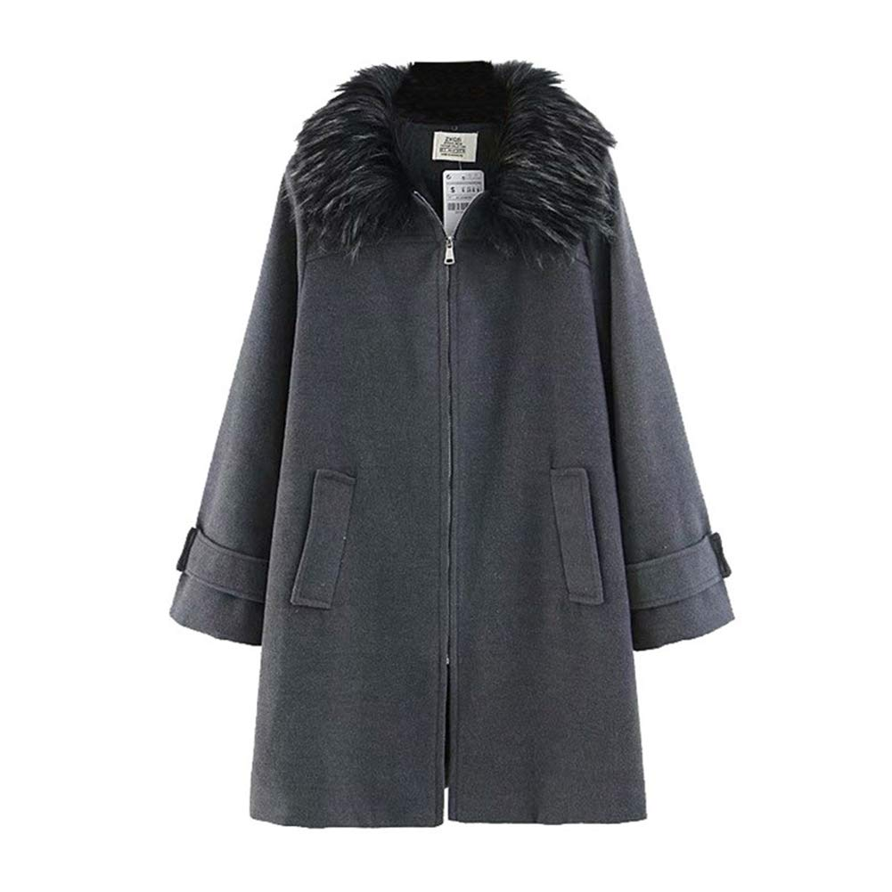 Ladies Medium and Long Section Coat Autumn and Winter Artificial Fur Detachable Collar Long Sleeve Hairy Coat Keep Warm,L