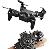 SainSmart Jr. Kids Drone RC Quadcopter Watch Drone 2.4G 4CH 4 Axis WIFI FPV Camera 0.3MP , Portable Mini UFO Drone with 100m Flying Distance