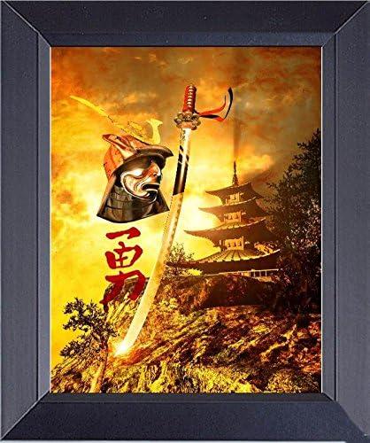 11 X 14 Framed Art Photograph Print Japanese Samurai Warrior Pagoda Background With Kanji Japanese Words Heroic Courage Posters Prints