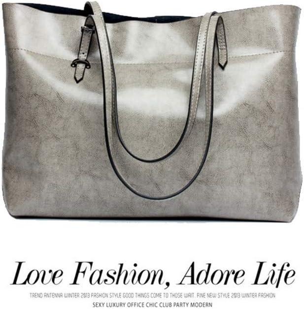 JenLn Womens Handtaschen aus weichem Leder mit großer Kapazität Schultertasche7 Farben Women's Casual Handbag Geeignet für alle Arten von Situationen (Color : Gray) Gray