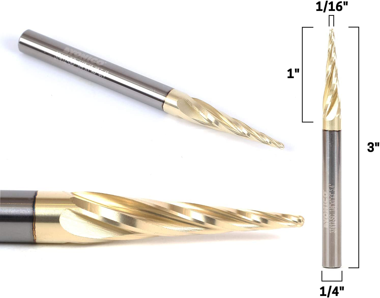 """Tapered End Mills Ball Nose 1//4/"""" X 3/"""" With 0.5mm 4.82Deg For CNC Machine Carving"""