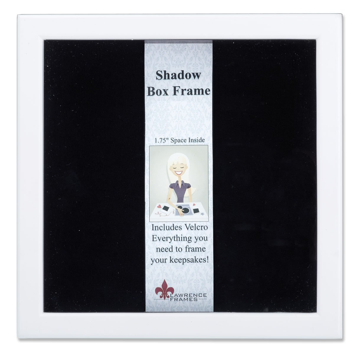 Lawrence Frames 790288 White Wood Shadow Box Picture Frame, 8 by 8-Inch