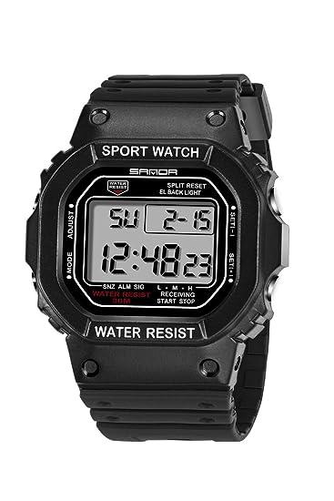 De luz de fondo LED Digital reloj deportivo jóvenes Casual par relojes niños negro + blanco