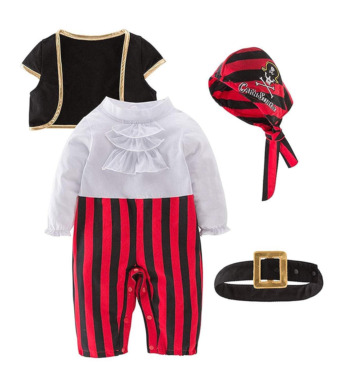 Le SSara 2019 capodanno neonate ragazze costume pirata 4 pezzi set pagliaccetto con gilet e berretto e cintura per Natale