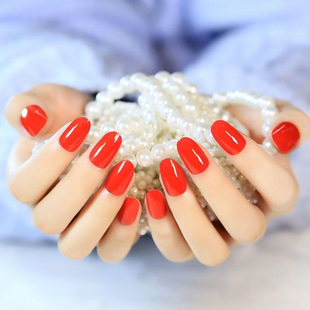 YUNAI Falso Falso Uñas pequeñas y redondas Cabeza salón de los clavos de la manicura roja 24pcs/set: Amazon.es: Belleza