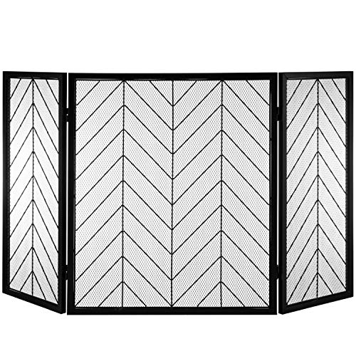 MyGift 3-Panel Vintage Chevron Design Black Steel Folding Fireplace Screen