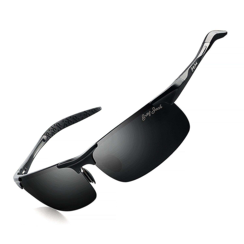 1905117c17 Amazon.com  GREY JACK Lightweight Al-Mg Alloy Metal Half-Frame Polarized Sports  Sunglasses Large for Men Women Black  Sports   Outdoors