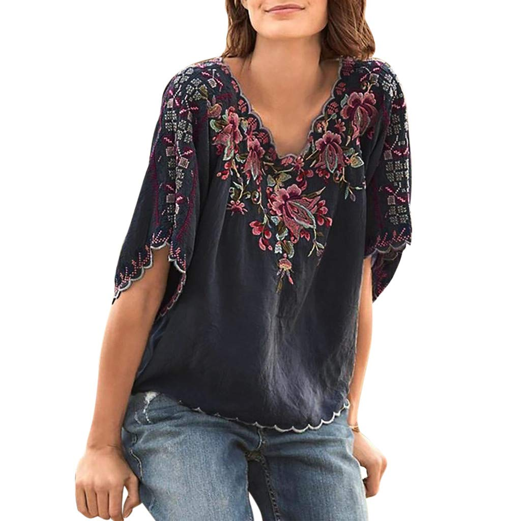 Sinfu Plus Size Women's Wavy V-Neck Flower Embroidered T-Shirt Top Summer Vintage Short Sleeve Casual Loose Top Blouse Gray