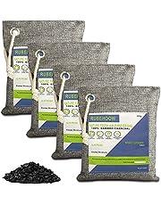 Geactiveerde houtskool luchtzuiverende zak, natuur frisse luchtreiniger zakken, 4 Pack geurverwijderaars voor thuis, actieve koolfilter voor auto's, kasten, badkamers en huisdiergebieden