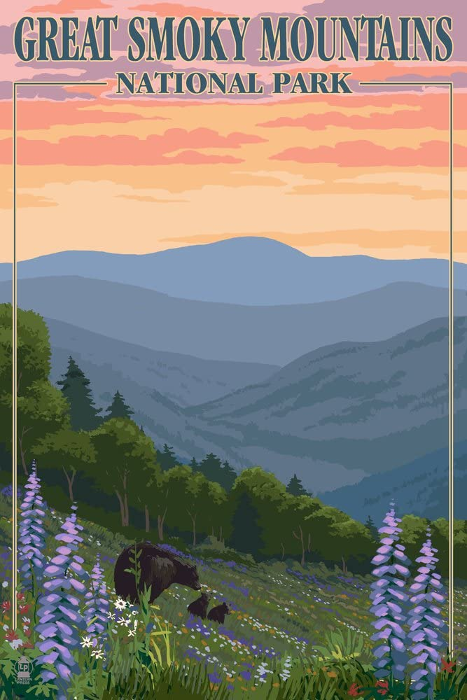 Great Smoky Mountains National Park, Tennessee, Bear and Cubs with Flowers Press 44573 (9x12 Art Print, Wall Decor Travel Poster)