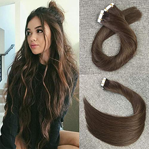 (Reysaina 18inch Dark Brown Tape in Hair Extensions Remy Human Hair Invisible Skin Weft Hair Extensions #2 Dark Brown Color 20Pcs 40G)