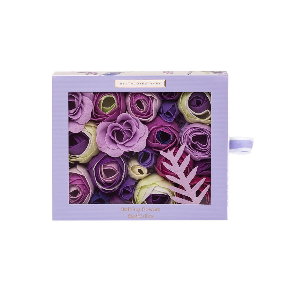 Heathcote & Ivory Lavender Fields Bathing Flowers in Sliding Box, 85 g FG5709