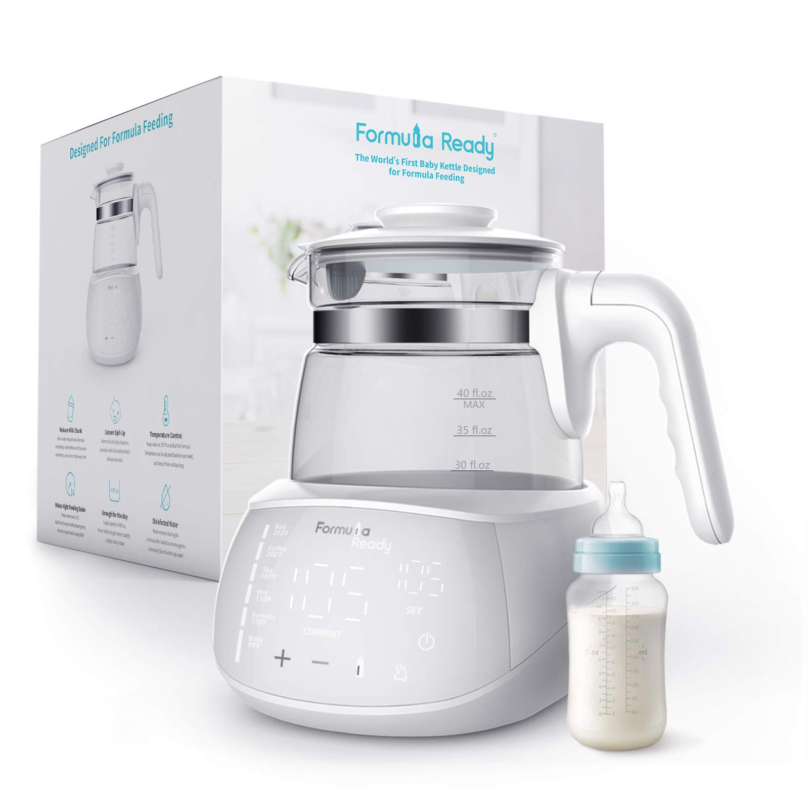 Formula Ready Baby Water Kettle- One Button Boil Cool Down and Keep Warm at Perfect Baby Bottle Temperature 24/7 - Dispense Warm Water Instantly- Replace Traditional Baby Bottle Warmer