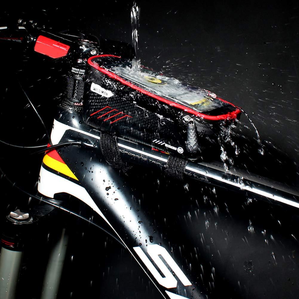 LAOOWANG Mountainbike-Tasche Fahrrad Frontrahmen Oberrohr Tasche Wasserdichter Touchscreen-Handy-Etui f/ür 4,7-6,5-Zoll-Mobiltelefone