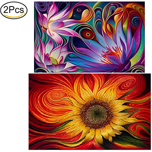 Standie 2 Pack 5D DIY Diamond Painting Crystal Embroidery Rhinestone Painting Kit Decorating Wall Stickers ( Sun Flowers 45 x 30cm & Lotus Flower 40 x 30cm )