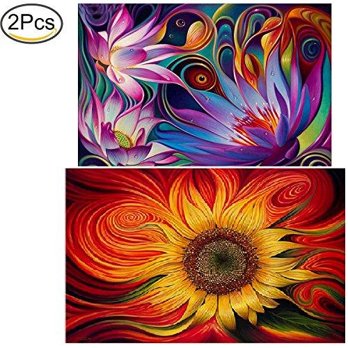 Standie 2 Pack 5D DIY Diamond Painting Crystal Embroidery Rhinestone Painting Kit Decorating Wall Stickers ( Sun Flowers 45 x 30cm & Lotus Flower 40 x 30cm )