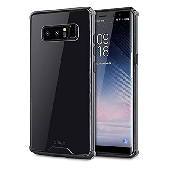 best service c86e3 caafa Olixar Samsung Note 8 Case - Bumper/Snap On Cover - Clear Back, Black  Bumper ExoShield - Tough Protective Armour - Samsung Galaxy Note 8 Case -  Clear ...