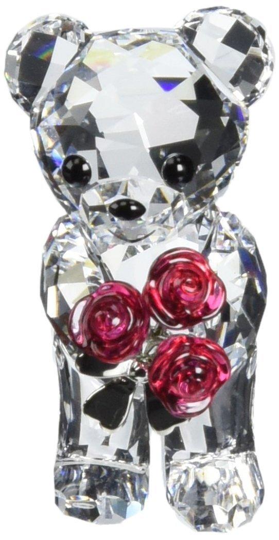 Swarovski Kris Bears-Figur, hält rote Rosen