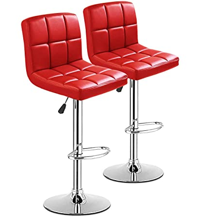COSTWAY Bar Stool, Modern Swivel PU Leather stools Adjustable Height Bistro Pub Counter Barstool Set of 2 Red