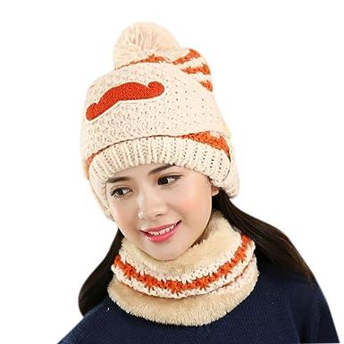 BIBITIME Combo Scarf Beanie with Visor Pompom Cap Women Knit Hat Beard Face  Mask (One 9c73c3037