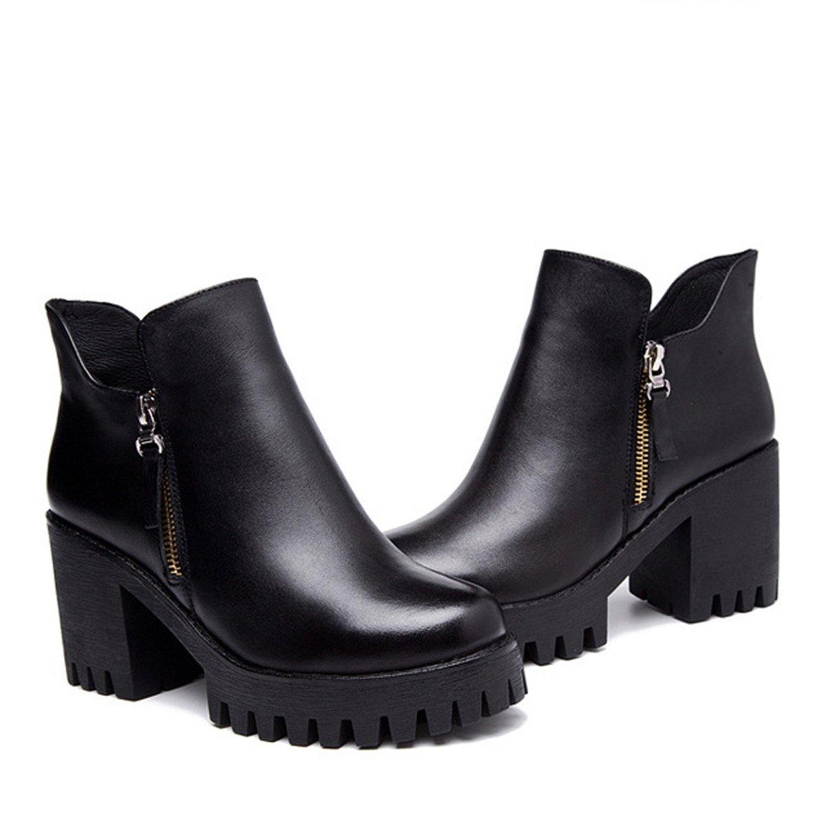 Frauen Wasserdichte schwarz Plattform Spitze Leder Martin Stiefel schwarz Wasserdichte e8a1e1