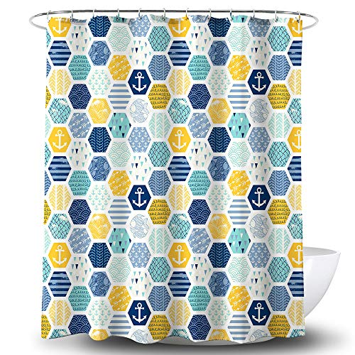Becan Ocean Geometric Lattice Fish Anchor Blue Yellow Green Polyester Fabric Waterproof Layer Thickening Shower Curtain 72X72Inches