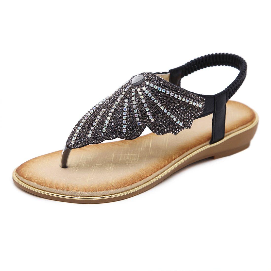 Women's Rhinestone Flat Sandals Glitter Shoes T-Strap Wedding Thong Sandals 3015 Black