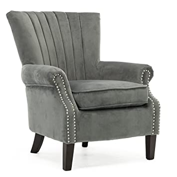 Sensational Olenka Velvet Wing Back Occasional Bedroom Living Room Accent Chair Fabric Armchair Grey Velvet Pdpeps Interior Chair Design Pdpepsorg