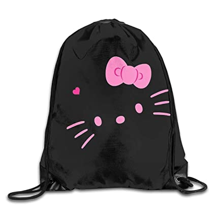 04d0e2baf Image Unavailable. Image not available for. Color: Meirdre Unisex Hello  Kitty Face Sports Drawstring Backpack Gym Bag