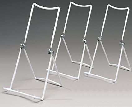 Metal Wire Easels White Vinyl Coated Display Plate Stand Holder Hinged Adjustable Multi Position - Set & Amazon.com: Metal Wire Easels White Vinyl Coated Display Plate Stand ...