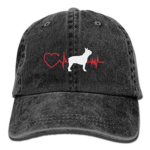 Unisex Baseball Cap Cotton Denim Hat Heartbeat Dog Boston Terrier Adjustable Snapback Peak ()