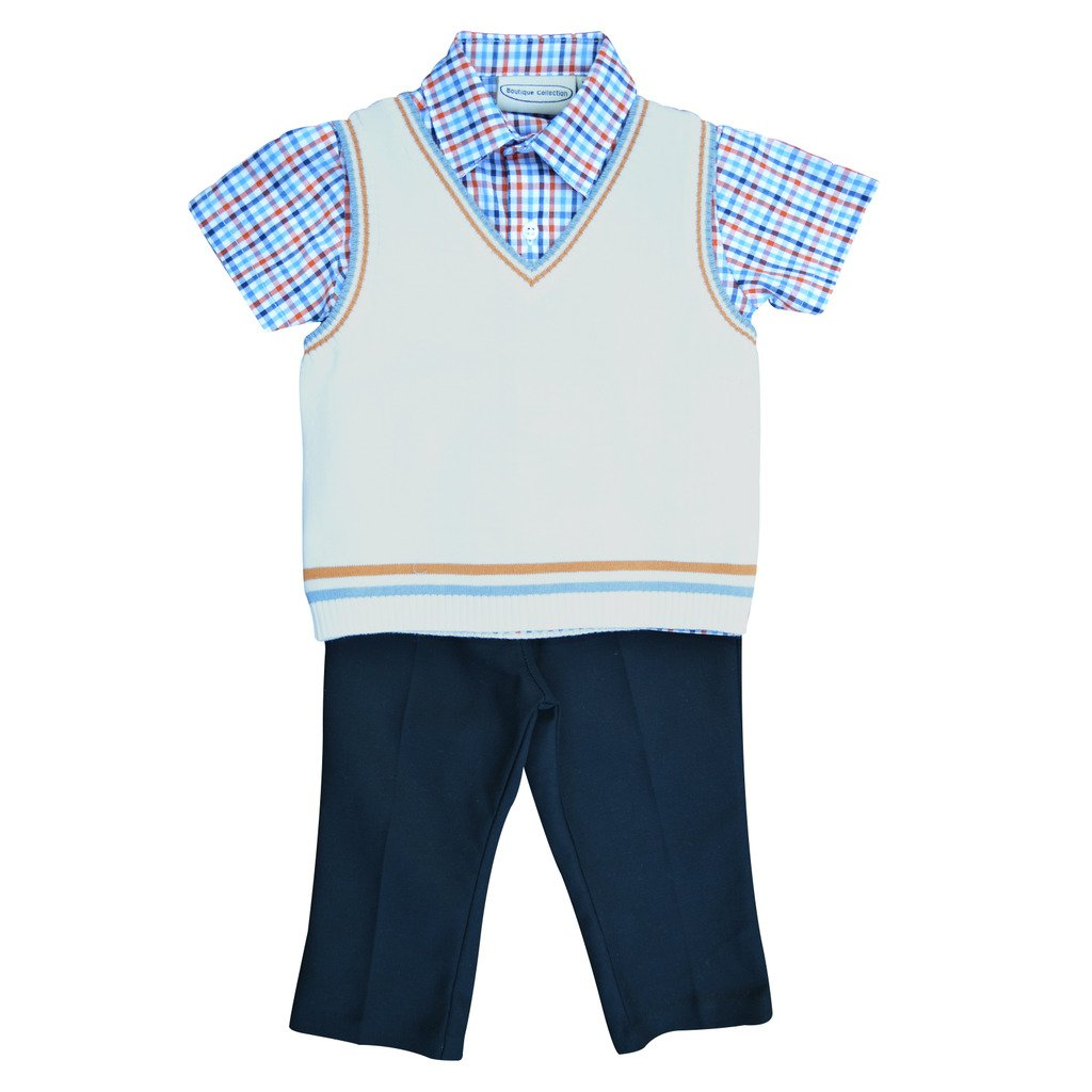 9c02c43a1 Amazon.com  Carriage Boutique Baby Boy 3 Piece Spring Knit Vest Set ...