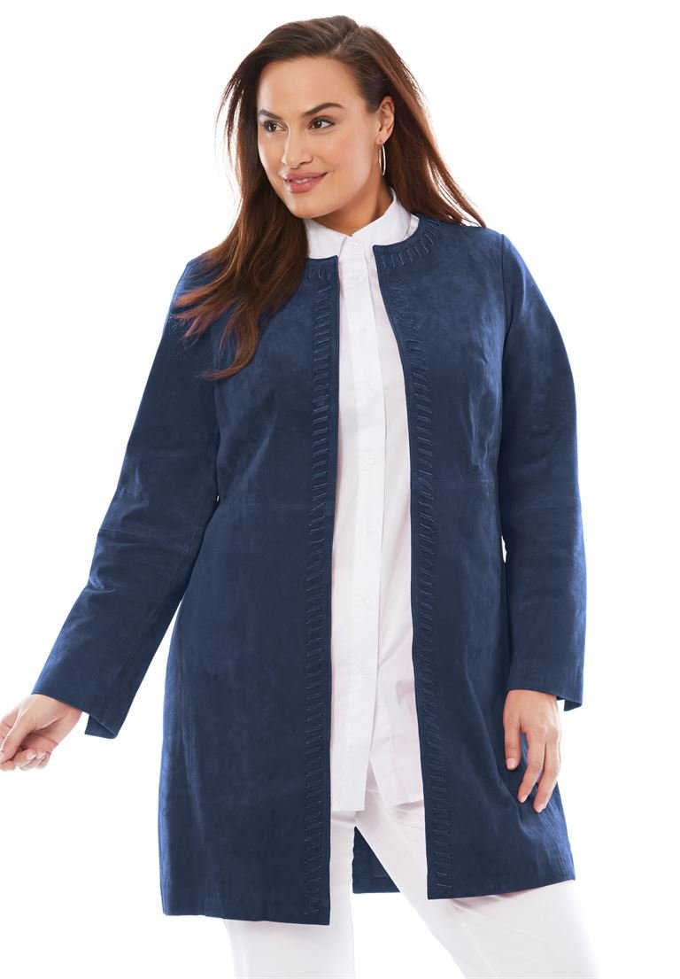 Jessica London Women's Plus Size Whipstitched Suede Topper Navy,22 W by Jessica London