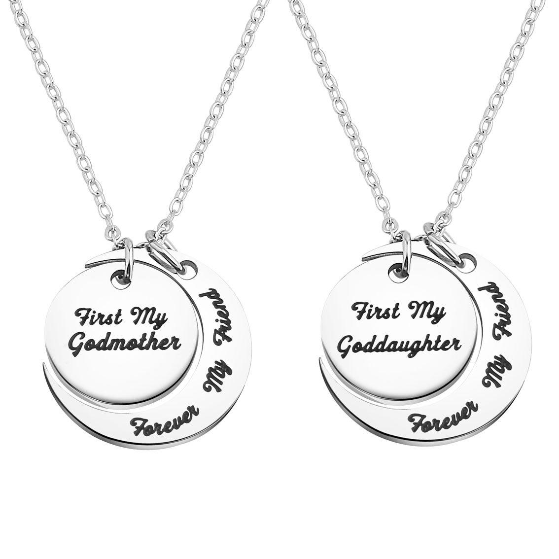 BNQL Godmother Goddaughter Necklace Forever My Friend Necklace Christening Gift (necklace set)